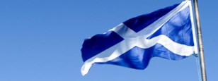 Scottish flag flying in the breeze